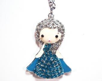 Princess with Blue Rhinestone Metal Keychain