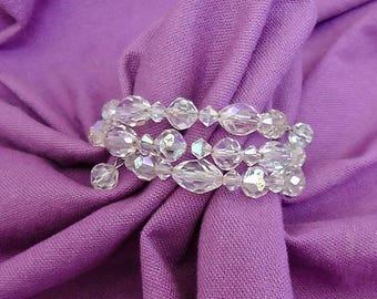 Vintage Memory Wire Crystal Bracelet