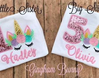 Unicorn Sisters Shirts, Unicorn Birthday Shirts, Unicorn Bodysuit, Big Sister Shirt, Little Sister Shirt, Unicorn Mommy Shirt