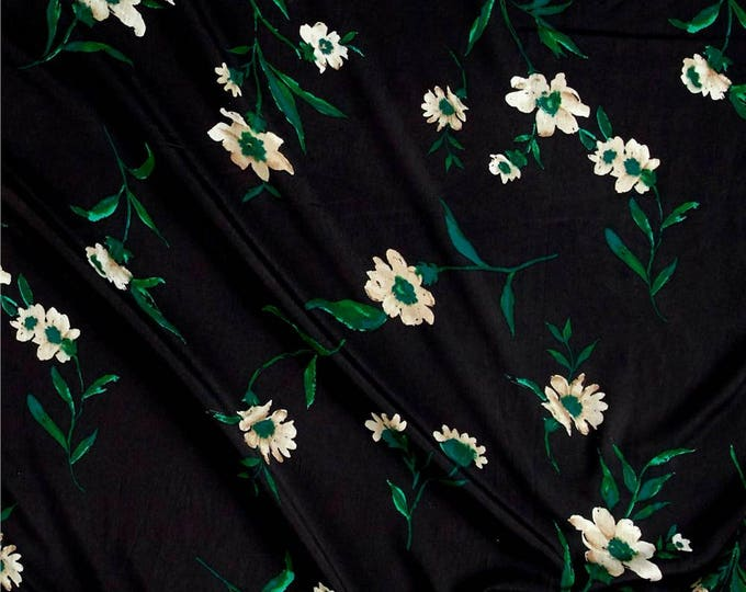 Floral Print in Black, Green & Cashmere Tan - Crepe de Chine Fabric