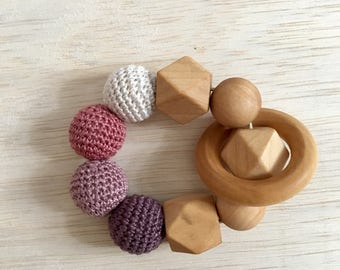 Crochet and Wood Teething Toy
