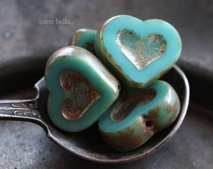 TURQUOISE THUMPER No. 2 .. NEW 4 Premium Picasso Czech Heart Beads 14x12mm (6077-4)
