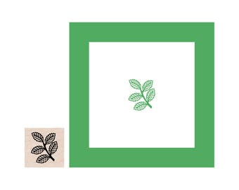 Mini Branch with Leaves Rubber Stamp