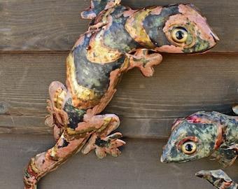 Gecko Lizard - brass metal climbing reptile sculpture - wall hanging - with verdigris blue-green, salmon, and iridescent gold patinas - OOAK
