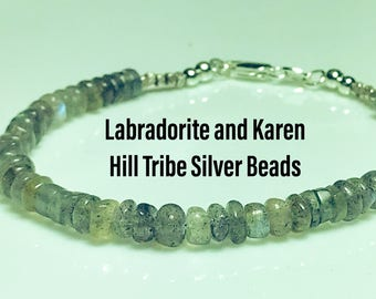 Labradorite And Karen Hill Tribe Silver Beads
