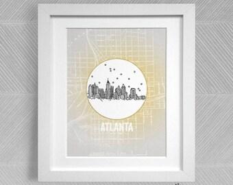 Atlanta, Georgia - United States - Instant Download Printable Art - Vintage City Skyline Map Series