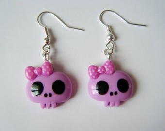 Earrings - skulls - purple