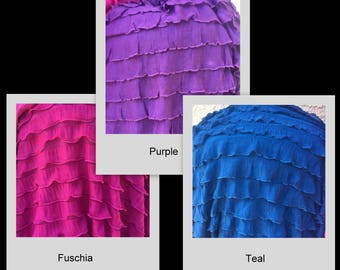 "1"" Pink Purple Teal (Blue/Green) Ruffle Stretch Fabric BTY"