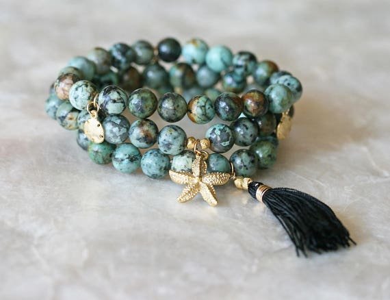 African Turquoise Layered Bracelet with Starfish Charm and Silk Tassel