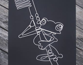 "Frog and Toothbrush Wire Sculpture in white 18"" by 18"""