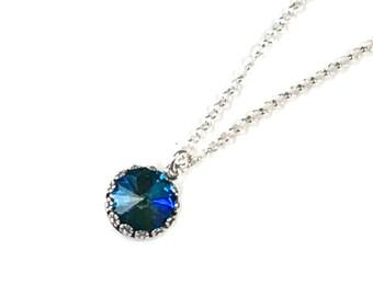 Deep Blue Swarovski Rivoli crystal on sterling silver chain Ultra Emerald