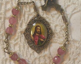 St Jude Chaplet, Pink Tourmaline Rosary, St Benedict medal Crucifix, St Jude Devotional, Catholic Wedding, Unbreakable rosary