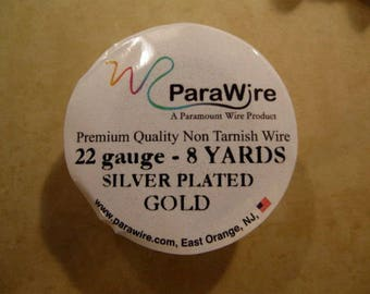 Silver Plated Gold Non Tarnish 22 Gauge Wire from ParaWire - 8 yard Spool