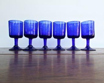 Handcrafted Blenko Cobalt Blue Port-Wine Glasses, MCM Blown-Glass Stemware, Set of 6 Vintage Handmade Small Blue Glasses, MCM Barware