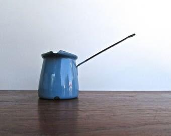 Mid Century Enamelware Flat-Bottomed Butter Warmer in Cerulean Blue