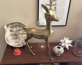 Very large brass deer, fawn