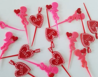 Vintage Cupid and Heart Valentine Declarative Picks - Set of 15