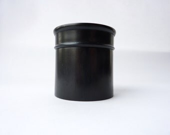 Black, Turned Wooden Trinket Box - Dressing Table Decor - Lidded Container - c. 1920s