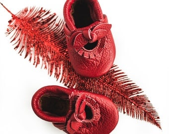 BOW Cherry  Red Mary Jane Moccs Soft Soled Leather Shoes Baby and Toddler//Free Shipping in USA// Starry Knight Design