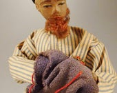 Reserved for Adam DOLL ISRAEL PALESTINE Papier Mache doll man Folk art handcrafted  app 5x4x3 inches 1940s