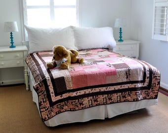 Pink & Brown Heirloom Patchwork Dog Quilt