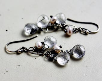 Tourmalinated Quartz Chandelier Earrings, Pearl Earrings, Drop Earrings, Sterling Silver,
