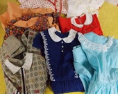 Lot 7 little girls dresses/robe, vintage 50s 60s, full skirts, attached crinolines, variety, one red heart print quilted robe 5/6