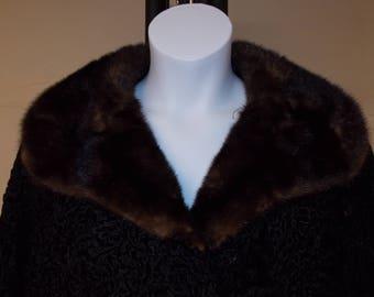 vintage black curly lamb coat, hook/loop front, dark brown mink collar, lined, & dark brown mink hat