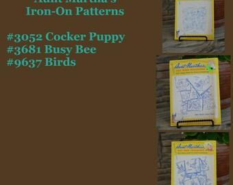 Aunt Martha's Patterns Cocker Puppy #3052, Birds #9637, Bee  #3681