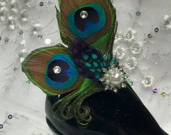 Peacock Feather Crystal Pearl Shoe Clip Pair