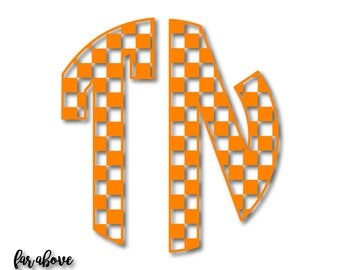 Checkerboard TN Tennessee Monogram Rocky Top SVG, EPS, dxf, png, jpg digital cut file for Silhouette or Cricut