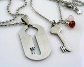 Matching Couple Necklaces, Boyfriend Girlfriend Necklaces, Couple Jewelry, Lock and Key Necklace, Dog Tag Boyfriend Girlfriend, N1511