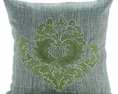 Decorative Pillow Sham Covers Couch Sofa Pillow Sham Toss Pillow Case 24 x 24 Inches Jute Burlap Pillow Thread Embroidered- Green Damasko