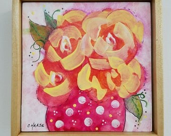 "Original Mixed Media, Floral, 5x5 "", Framed, Pink and Yellow Flowers, Cottage Chic, Wall Art"