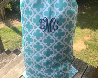 Aqua Quatrefoil Laundry bag~Monogram Included-Aqua-Laundry