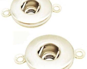 MERZIEs silver metal 18mm SNAP base findings U PICK single- or double-loop button for creating jewelry - SHIPs from USA