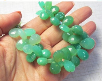 20% Off OUT Of TOWN SALE Natural Big Chrysoprase Briolette Beads , 13mm 14mm 15mm 16mm 17mm Large drops