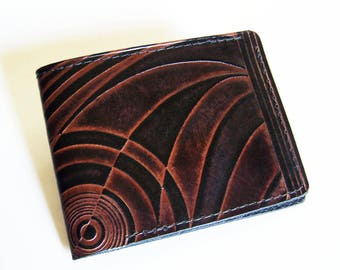 """Leather Wallet - Thin Bi-fold with Deco Design - Men's Leather Wallet - """"B"""" Style Interior"""
