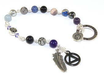 12 Step Recovery Meditation Beads - Strength - Genuine Gemstone Beads