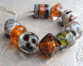 Destash Lampwork Beads, Handmade Glass Beads, Orphan Beads, Singles, Brown Orange