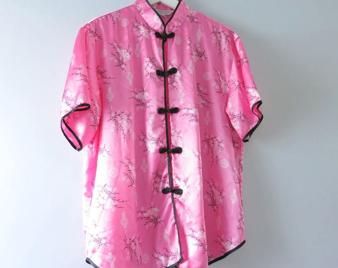 Modern | Pink Satin Asian Inspired Pajama Top XL