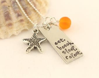 Starfish Charm Necklace - Seaglass Necklace - Summer Beach Necklace - Vacation Necklace - Cruise Jewelry - Star Fish Charm Necklace