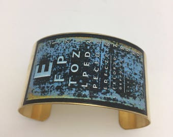 Vintage Eye Chart Cuff Decoupage Bracelet Optometry Graduation Gift optometrist optomology
