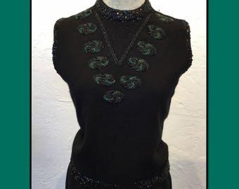 Vintage 1950s beaded short sleeve sweater
