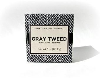 Gray Tweed Soap, Mens Soap, Cold Process Soap, Bar Soap, Palm Oil Free Soap, Verbena, Bergamont, Lemon, Sandalwood, Gift for Him
