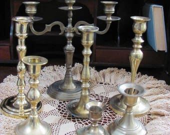 Lot Brass Candle Holders, Wedding Candle Holders 7 Instant Collection Hard to Find