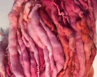Pink and Peach - Mini Hank Merino handspun hand dyed chunky