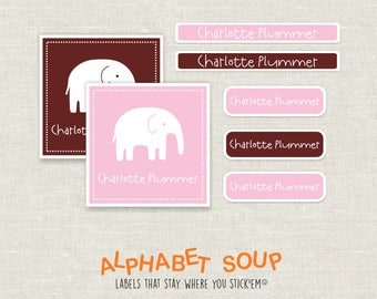 54 pink chocolate elephant personalized labels | dishwasher safe, personalized, waterproof stickers