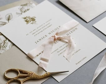 Modern Floral Wedding Invitation, Gold and Blush Invitation, Floral Invitation, Clean and Simple Wedding Invitation DEPOSIT