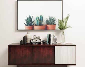 Succulent Print, Botanical Art, Minimal Kitchen Wall Decor - Potted Plants